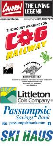 Our Sponsors - Mt. Washington Cog Railway, Paramount Electric, Littleton Coin Company, Passumpsic Savings Bank, Turtle Ridge Foundation, VanDesign