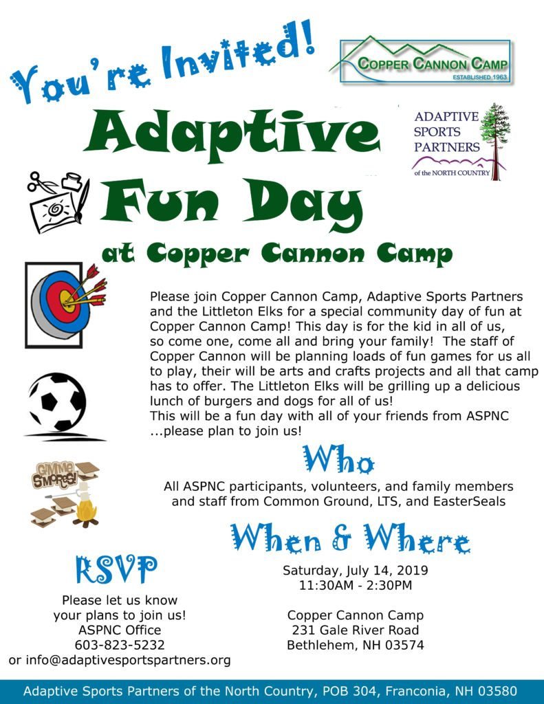 Please join us July 14th at Copper Cannon for Adaptive Fun Day. THis day is for the kid in all of us. Please RSVP at info@adaptivesprtspartners.org