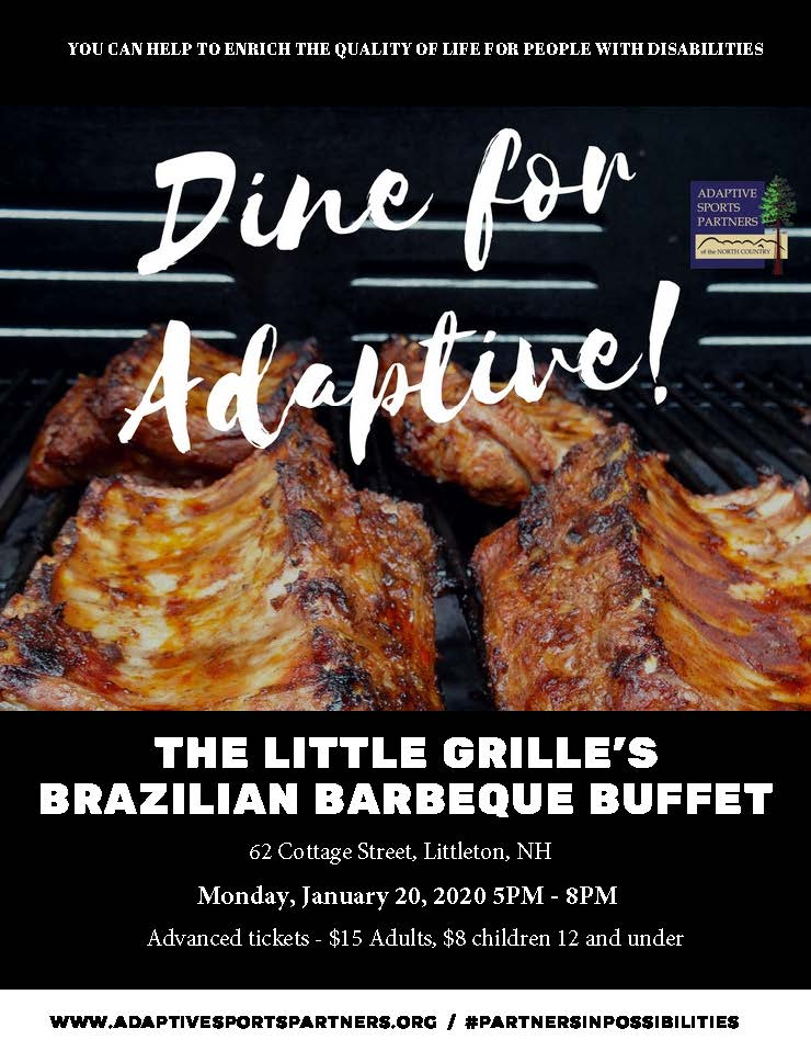 Enjoy The Little Grill's brazilian barbecue and support ASPNC's North Country United's Special Olympics teams.  Advance tickets - $15 for adults, $8 for children 12 and under.